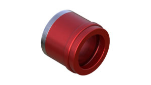 Onyx Endcap, Knurled - Left, CL 12mm Thru 100409 in Red