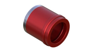 Onyx Endcap, Knurled - Left, CL 12mm Thru plus 3.5mm 100413 in Red