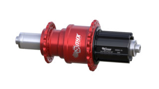 Onyx Vesper 135mm Road bike hub Campy Alloy Freehub, Quick Release QR in Red/Clear