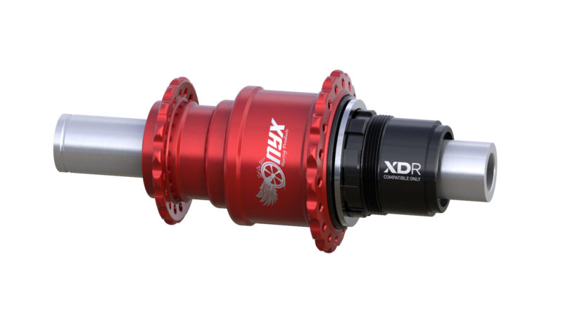 Onyx Vesper 142mm Road bike hub XDR Alloy Freehub, 12mm thru axle in Red/Clear